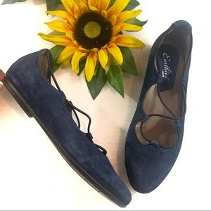 Earthies Essen Flats Navy Blue Suede Leather